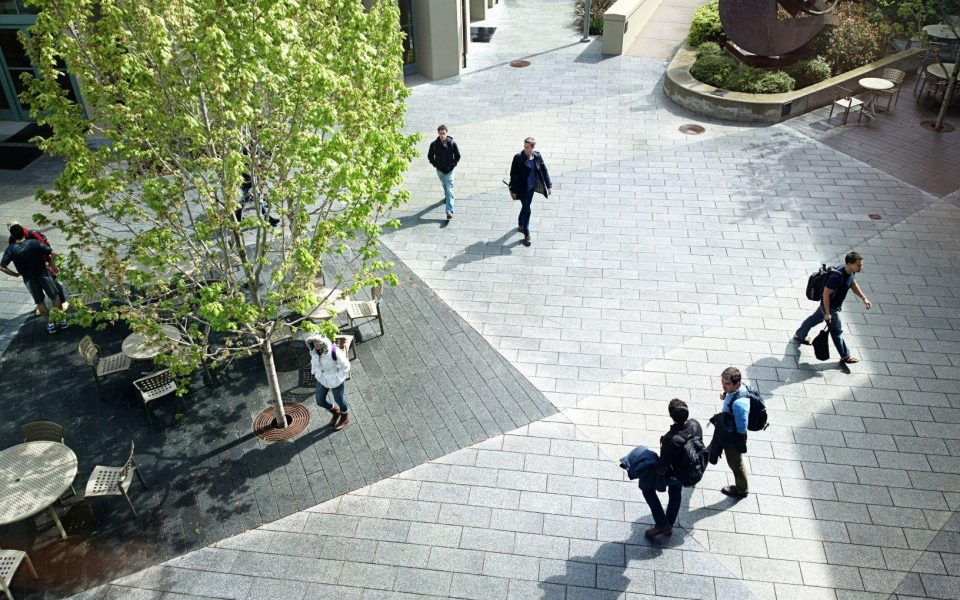 Camera view of courtyard outside a bank